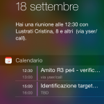 Schermata del Centro Notifiche in iOS 8 su iPhone 5s