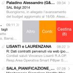 Schermata del nuovo client e-mail in iOS 8 su iPhone 5s