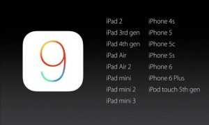iOS 9 dispositivi